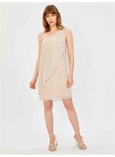Vekem-Limited Edition Tek Omuz Payet Detaylı Şifon Elbise Pudra